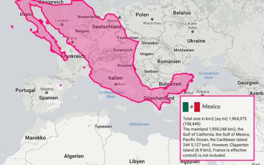 Karte von Mexiko über Europa